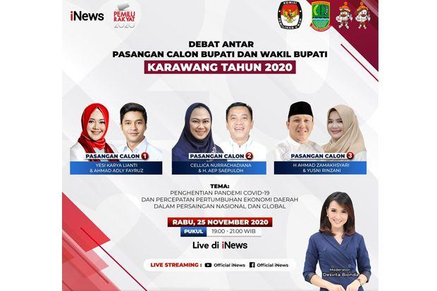 Live di iNews dan RCTI+ Rabu Hari Ini Pukul 19.00, Debat Publik Calon Bupati Karawang