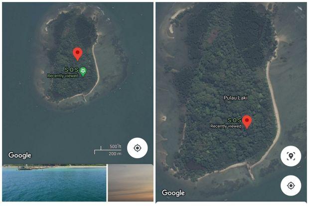 Tanda SOS di Pulau Laki (Foto: Google Maps)