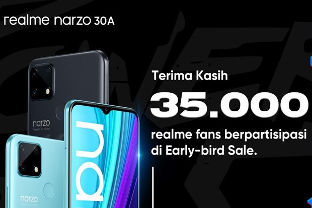35.000 Fans Ikut Early-bird Sale, Siang Ini ada Flash Sale realme narzo 30A