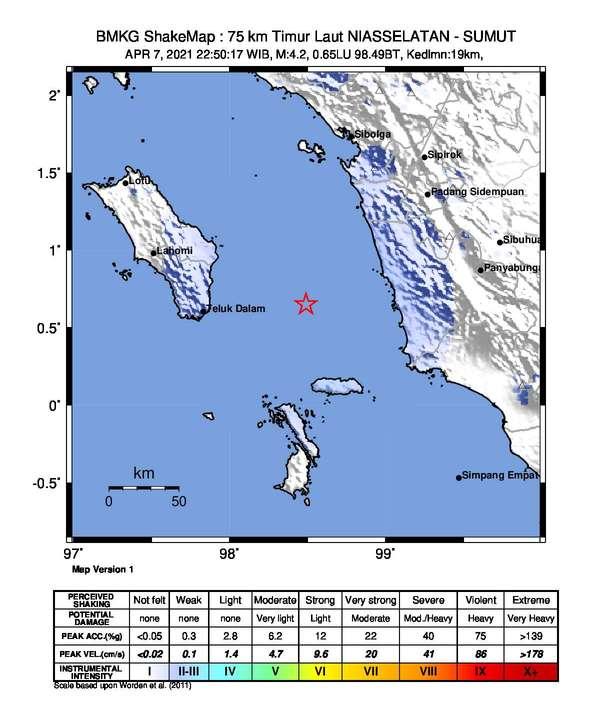 Gempa Tektonik M 4,2 Guncang Tapanuli Tengah