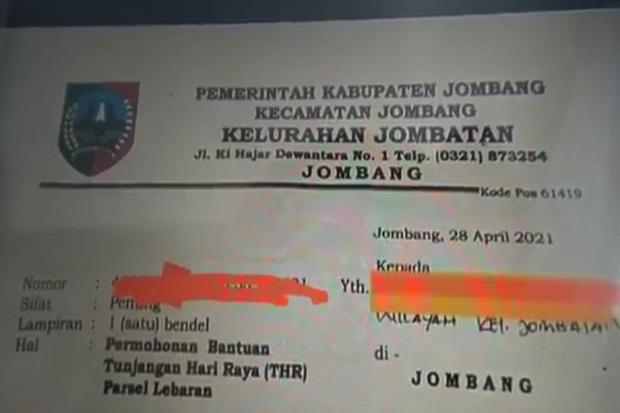 Lurah di Jombang Keluarkan Surat Minta THR ke Para Pengusaha