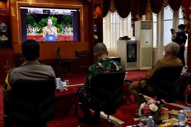 Atasi Pandemi, Forkopimda Aceh Ikuti Pengarahan Pascalebaran dari Presiden Joko Widodo