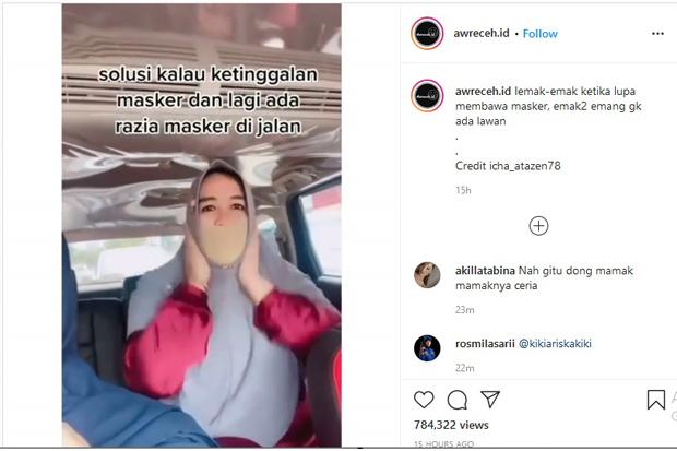 Viral, Aksi Kocak Emak-emak Lupa Bawa Masker