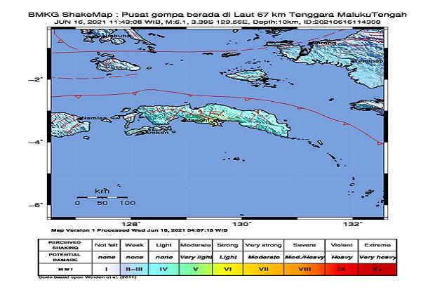 Gempa Bermagnituo 6,1 Mengguncang Maluku Tengah, Getarannya Dirasakan Sampai Masohi
