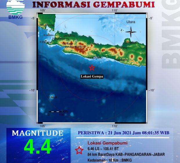 Gempa 4,4 SR di Pangandaran, Getarannya Terasa di Beberapa Lokasi