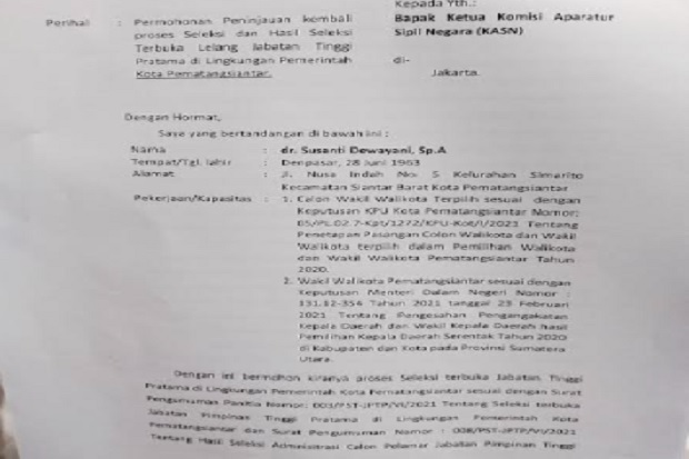 Surati KASN, Wakil Wali Kota Pematangsiantar Terpilih Minta Seleksi JPTP Dibatalkan