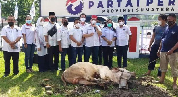DPW Perindo Sumatera Utara Sembelih 2 Ekor Sapi Kurban