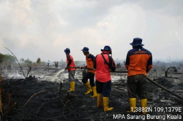 Pemadaman Kebakaran Lahan di Sambas Terbantu Sekat Kanal dan Sumur Bor