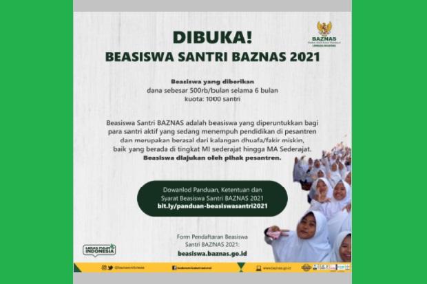 BAZNAS Buka Pendaftaran Beasiswa Santri 2021, Ini Syarat dan Cara Daftar