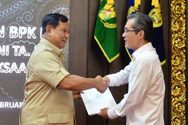 Menhan Prabowo Subianto Terima Perwakilan BPK