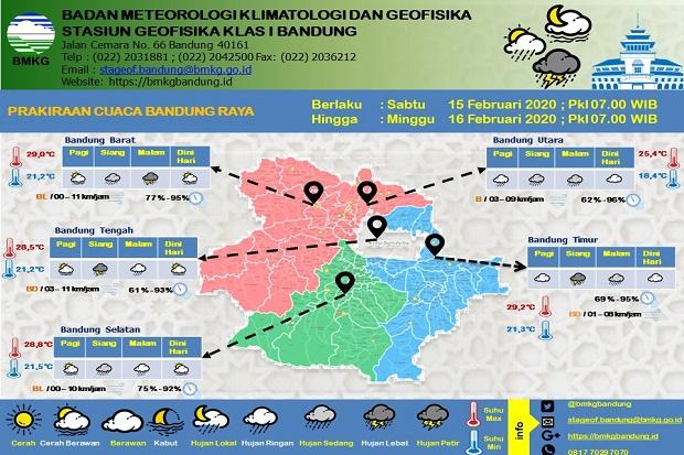 Hujan Sedang dan Lebat Siang-Malam, Suhu Minimum Bandung Raya 18,4 Derajat