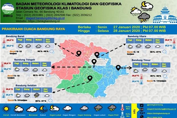 Hari Ini Bandung Raya Bakal Diguyur Hujan Sedang Cenderung Lebat