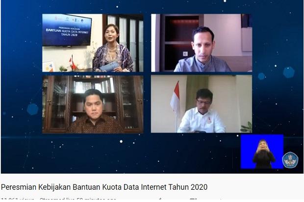 3 Menteri Resmikan Bantuan Kuota Data Internet