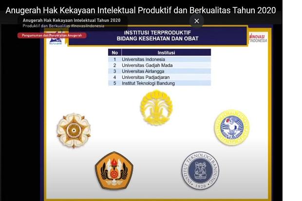 UI Raih Penghargaan Institusi Terproduktif HKI Berkualitas se-Indonesia