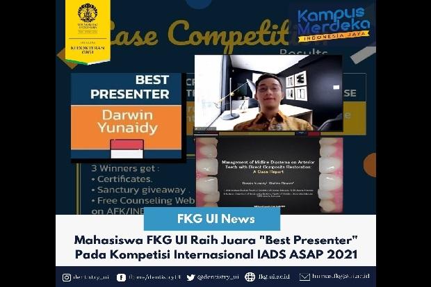 Mahasiswa FKG UI Raih Penghargaan Best Presenter di IADS ASAP 2021