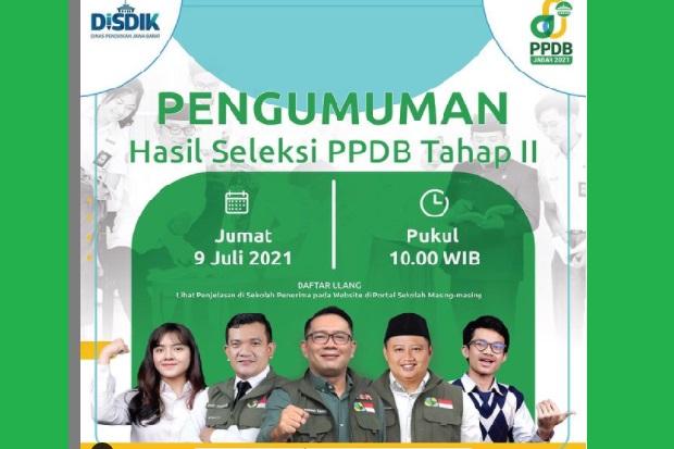 PPDB Tahap II Jawa Barat Diumumkan Hari Ini, Cek Link di Sini